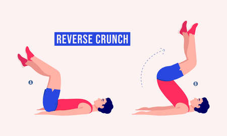 Men doing REVERSE CRUNCH exercise, Men workout fitness, aerobic and exercises. Vector Illustration.