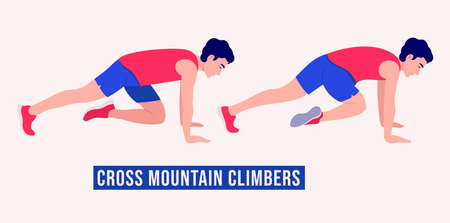 Men doing Cross Mountain Climbers exercise, Men workout fitness, aerobic and exercises. Vector Illustration.