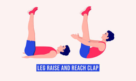 Men doing Leg Raise and Reach Clap exercise, Men workout fitness, aerobic and exercises. Vector Illustration.