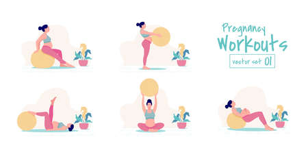Prenatal + Pregnancy Workouts set. stability ball exercises. Working out and fitness, pregnancy concept. Vector illustration.