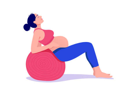 beautiful young pregnant woman exercises with fit ball in the gym. Working out and fitness, pregnancy concept. Vector illustration isolated on white background.