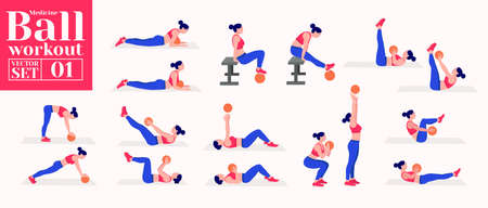 woman doing exercises with medicine ball. Lunges, Pushups, Squats, Dumbbell rows, Burpees, Side planks, Situps, Glute bridge, Leg Raise, Russian Twist, Side Crunch .etc
