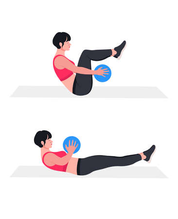 woman doing exercises with medicine ball. Lunges, Pushups, Squats, Dumbbell rows, Burpees, Side planks, Situps, Glute bridge, Leg Raise, Russian Twist, Side Crunch .etc Ilustración de vector