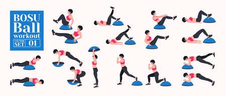 BOSU Ball / Balance Training Ball workout set. Young woman doing BOSU Ball exercises. Vector illustration