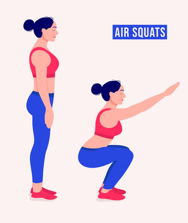 Air Squats exercise, Woman workout fitness, aerobic and exercises. Vector Illustration. Illustration