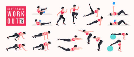 Body Toning Workout Set. Women doing fitness and yoga exercises. Lunges, Pushups, Squats, Dumbbell rows, Burpees, Side planks, Situps, Glute bridge, Leg Raise, Russian Twist, Side Crunch .etc