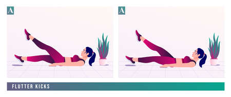 FLUTTER KICKS exercise, Women workout fitness, aerobic and exercises. Vector Illustration.