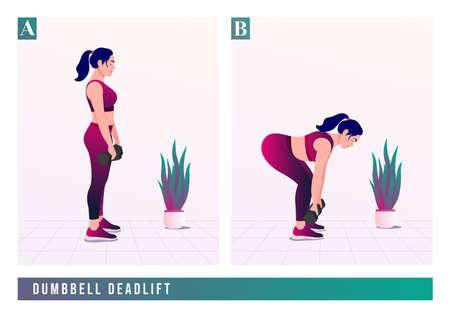 DUMBBELL DEADLIFTexercise, Women workout fitness, aerobic and exercises. Vector Illustration. Çizim