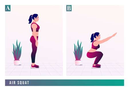 AIR SQUAT exercise, Women workout fitness, aerobic and exercises. Vector Illustration.