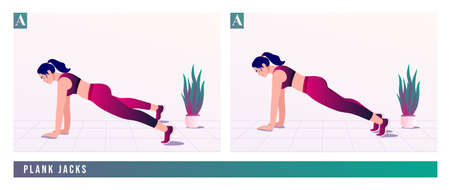PLANK JACKS exercise, Women workout fitness, aerobic and exercises. Vector Illustration.