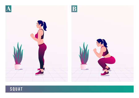 Squat exercise, Women workout fitness, aerobic and exercises. Vector Illustration.