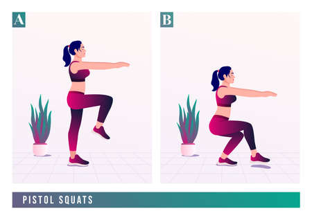 PISTOL SQUATS exercise, Women workout fitness, aerobic and exercises. Vector Illustration.
