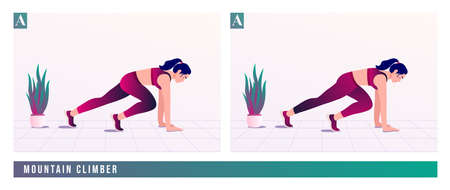 mountain climber exercise, Women workout fitness, aerobic and exercises. Vector Illustration.