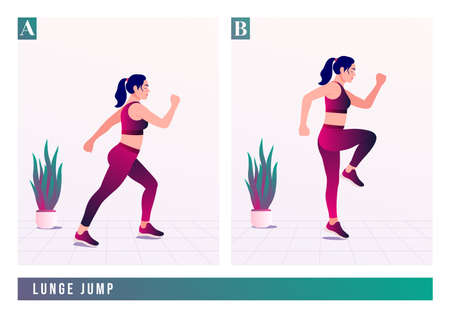 LUNGE JUMP exercise, Women workout fitness, aerobic and exercises. Vector Illustration. Çizim
