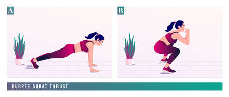 Burpee Squat Thrust exercise, Women workout fitness, aerobic and exercises. Vector Illustration.