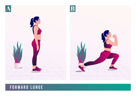 Forward Lunge exercise, Women workout fitness, aerobic and exercises. Vector Illustration.