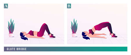 GLUTE BRIDGE exercise, Women workout fitness, aerobic and exercises. Vector Illustration.