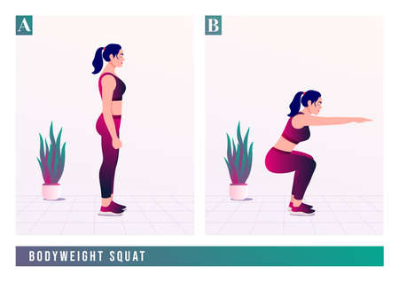 BODYWEIGHT SQUAT exercise, Women workout fitness, aerobic and exercises. Vector Illustration.