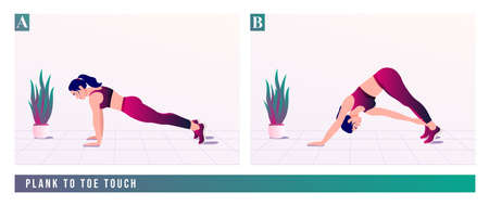 Plank To Toe Touch exercise, Women workout fitness, aerobic and exercises. Vector Illustration. Çizim