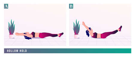 Hollow Hold exercise, Women workout fitness, aerobic and exercises. Vector Illustration.