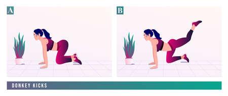 Donkey Kicks exercise, Women workout fitness, aerobic and exercises. Vector Illustration.