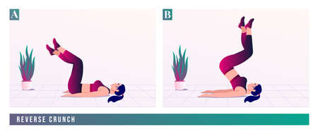 REVERSE CRUNCH exercise, Women workout fitness, aerobic and exercises. Vector Illustration.
