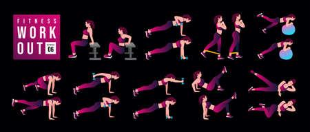 Women Workout Set . women exercise vector set. Women doing fitness and yoga exercises. Lunges, Pushups, Squats, Dumbbell rows, Burpees, Side planks, Glute bridge, Leg Raise, Russian Twist .etc