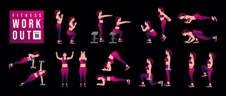 Women Workout Set . women exercise vector set. Women doing fitness and yoga exercises. Lunges, Pushups, Squats, Dumbbell rows, Burpees, Side planks, Glute bridge, Leg Raise, Russian Twist .etc