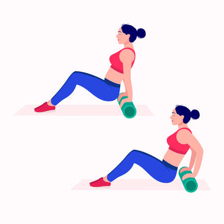 Foam Roller Workout. women exercise vector set. Women doing fitness and yoga exercises with Foam Roller. Çizim