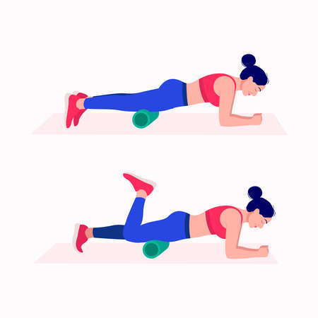 Foam Roller Workout. women exercise vector set. Women doing fitness and yoga exercises with Foam Roller.