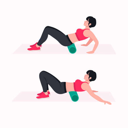 Foam Roller Workout. women exercise vector set. Women doing fitness and yoga exercises with Foam Roller. Ilustração