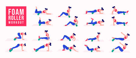 Foam Roller Workout. women exercise vector set. Women doing fitness and yoga exercises. Lunges, Pushups, Squats, Dumbbell rows, Burpees, Side planks, Glute bridge, Leg Raise, Russian Twist .etc