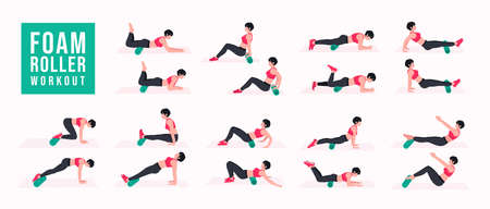 Foam Roller Workout. women exercise vector set. Women doing fitness and yoga exercises. Lunges, Pushups, Squats, Dumbbell rows, Burpees, Side planks, Glute bridge, Leg Raise, Russian Twist .etc Vector Illustratie