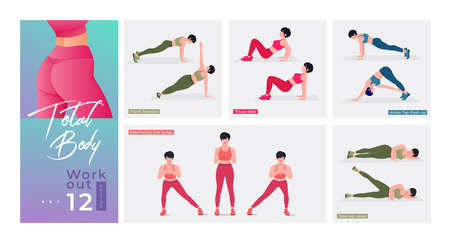 Women Workout Set. Women doing fitness and yoga exercises. Lunges, Pushups, Squats, Dumbbell rows, Burpees, Side planks, Situps, Glute bridge, Leg Raise, Russian Twist, Side Crunch .etc