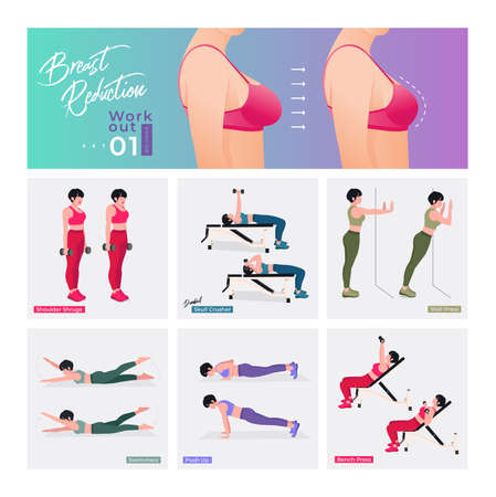 Breast reducing exercise Set. Women doing fitness and yoga exercises. Lunges, Pushups, Squats, Dumbbell rows, Burpees, Side planks, Situps, Glute bridge, Leg Raise, Russian Twist, Side Crunch .etc
