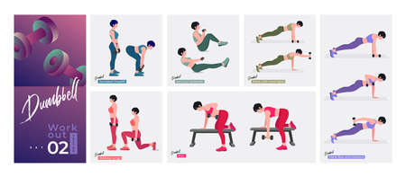 Dumbbell workout Set. Women doing fitness and yoga exercises. Lunges, Pushups, Squats, Dumbbell rows, Burpees, Side planks, Situps, Glute bridge, Leg Raise, Russian Twist, Side Crunch .etc