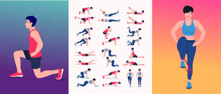 Men and women Women Workout Set. Women doing fitness and yoga exercises. Lunges, Pushups, Squats, Dumbbell rows, Burpees, Side planks, Situ ps, Glute bridge, Leg Raise, Russian Twist, Side. etc