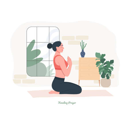 Kneeling Prayer Yoga pose. Young woman practicing yoga exercise. Woman workout fitness, aerobic and exercises. Vector Illustration.