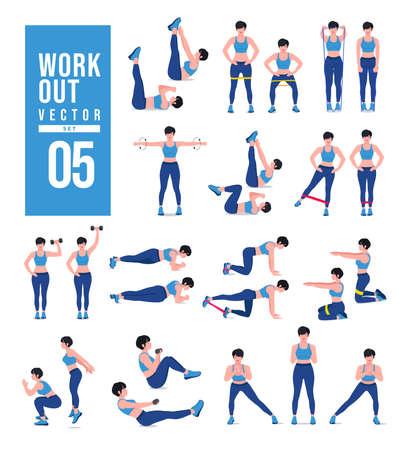 Women Workout Set. Women doing fitness and yoga exercises. Lunges, Pushups, Squats, Dumbbell rows, Burpees, Side planks, Situ ps, Glute bridge, Leg Raise, Russian Twist, Side Crunch .etc Ilustración de vector