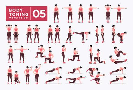 Women Workout Set. Women doing fitness and yoga exercises. Lunges, Pushups, Squats, Dumbbell rows, Burpees, Side planks, Situ ps, Glute bridge, Leg Raise, Russian Twist, Side Crunch .etc Vecteurs