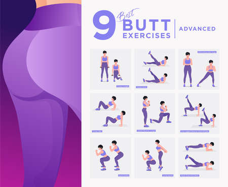 Buttocks fat burning workout Set. Women doing fitness and yoga exercises. Lunges, Pushups, Squats, Dumbbell rows, Burpees, Side planks, Situps, Glute bridge, Leg Raise, Russian Twist, Side Crunch .etc