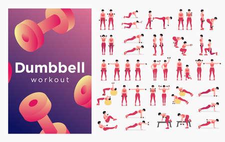 Dumbbell workout Set. Women doing fitness and yoga exercises. Lunges, Pushups, Squats, Dumbbell rows, Burpees, Side planks, Situps, Glute bridge, Leg Raise, Russian Twist, Side Crunch .etc Ilustración de vector