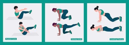 Women Workout Set. Woman workout fitness, aerobic and exercises. Vector Illustration.