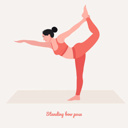 Standing bow Yoga pose. Young woman practicing yoga exercise. Woman workout fitness, aerobic and exercises. Vector Illustration.