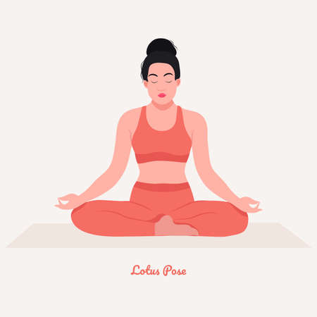 Lotus Yoga pose. Young woman practicing yoga exercise. Woman workout fitness, aerobic and exercises. Vector Illustration.