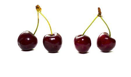 Cherry isolated on white  . Ripe cherry isolated. Sherry berry fruit isolated on white background. Sweet cherry. Red cherry.