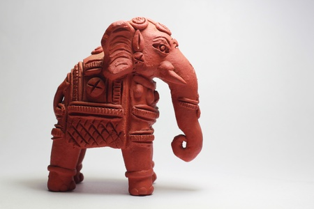 signifies: A terracotta war elephant of Jaipur . Signifies strength and power. Stock Photo