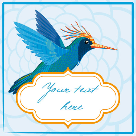 Blue hummingbird with frame. Vector illustration