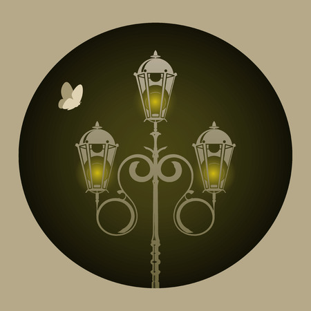 Lamp and batterfly. Vector illustration
