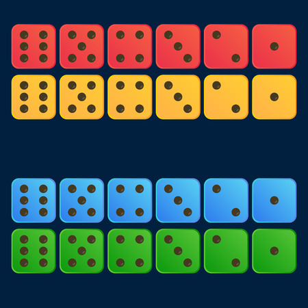 Red, Yellow, Blue, Green Colour Set Dice Vector Illustration